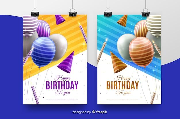 Realistische stijl verjaardag uitnodiging sjabloon