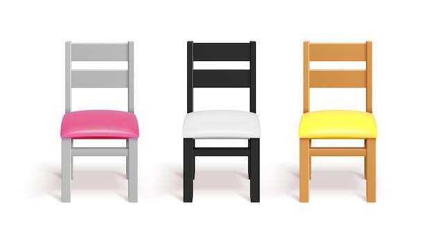 Realistische stoelen. witte, zwarte en houten stoel met kussen
