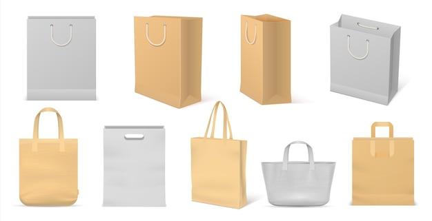 Realistische stoffen tas. herbruikbare boodschappentas van karton en katoen met handvatten, blanco mockuppakket voor reclame en branding. vector geïsoleerde papieren handtas set om te winkelen