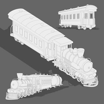Realistische stoomtrein schets sjabloon. vector kleurplaat 3d model trein.