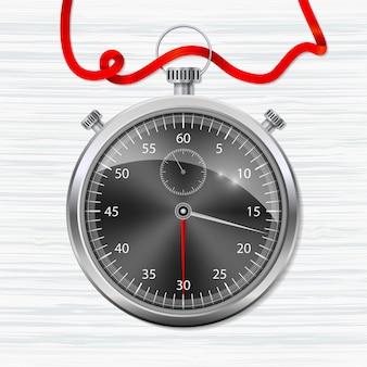 Realistische stopwatch in donkere kleuren