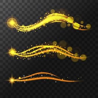 Realistische stralende sterren, glitter en gloed. vliegend pad sprankelend magisch.
