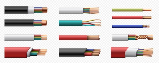 Realistische stroomcoaxkabels met koperdraad. 3d ineengestrengelde kabel met plastic veiligheidsjasje. geleider verbinding vector set. flexibele uitrusting van verschillende stroomsterktes