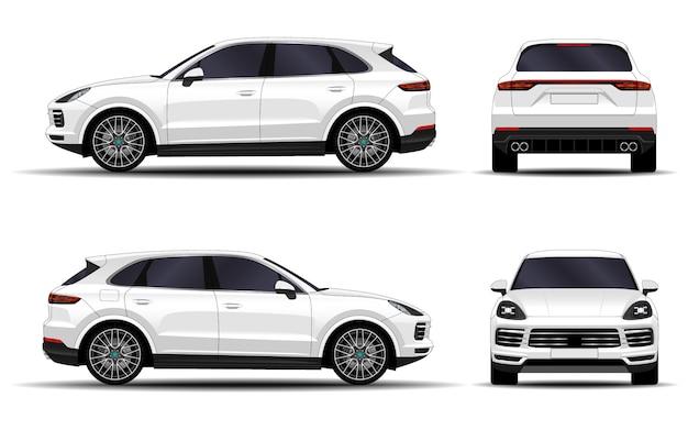 Realistische suv-auto. vooraanzicht; zijaanzicht; achteraanzicht.