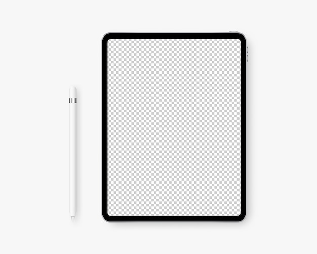 Realistische tablet met potlood.