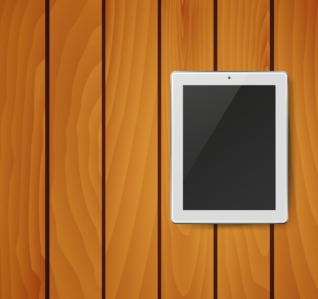 Realistische tablet pc-computer met zwart scherm op houten achtergrond. illustratie.