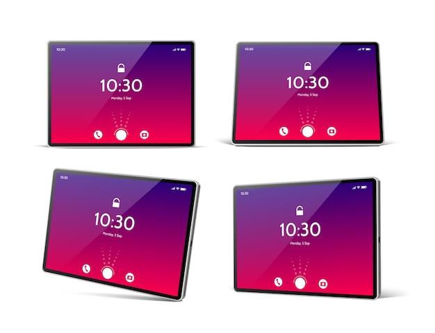 Realistische tabletcomputer met helder scherm mockup set lege tablet pc