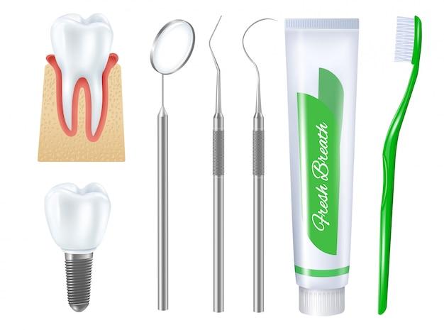 Realistische tandheelkundige illustratie set