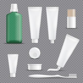 Realistische tandpasta's transparante achtergrond instellen