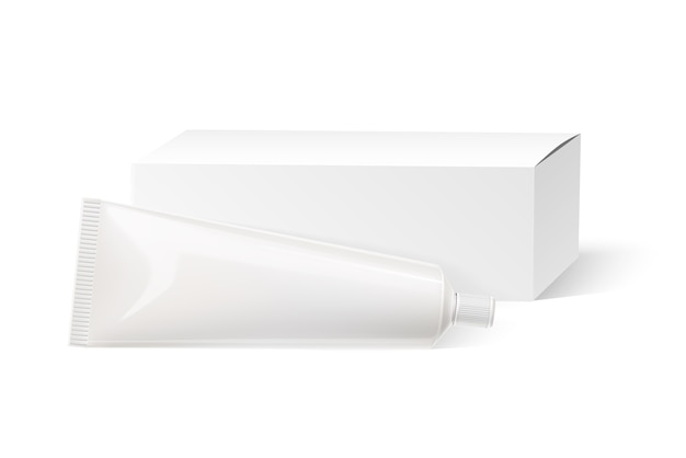 Realistische tandpasta tube en kartonnen doos wit mockup. cosmetica plastic kubus sjabloon. huidcrème, mockup voor make-upproducten voor het gezicht. pakket mondverzorgingsproducten.