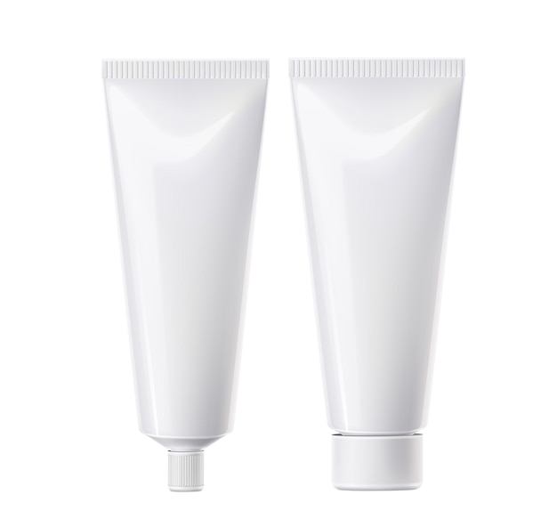 Realistische tandpasta tube wit. cosmetica plastic kubus sjabloon. huidcrème, productverpakking voor gezichtsmake-up. pakket mondverzorgingsproducten.
