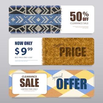 Realistische tapijt textuur banners set