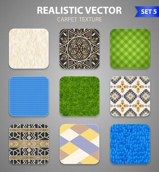 Realistische tapijt textuur patronen set