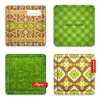 Realistische tapijt textuur patroon set