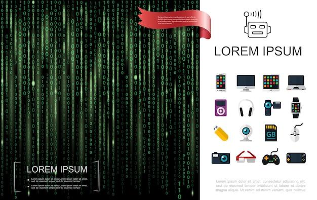Realistische technologie kleurrijk met groene binaire code moderne apparaten als achtergrond en gadgetsillustratie,