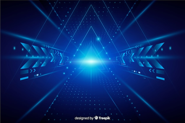 Realistische technologie lichte tunnel achtergrond