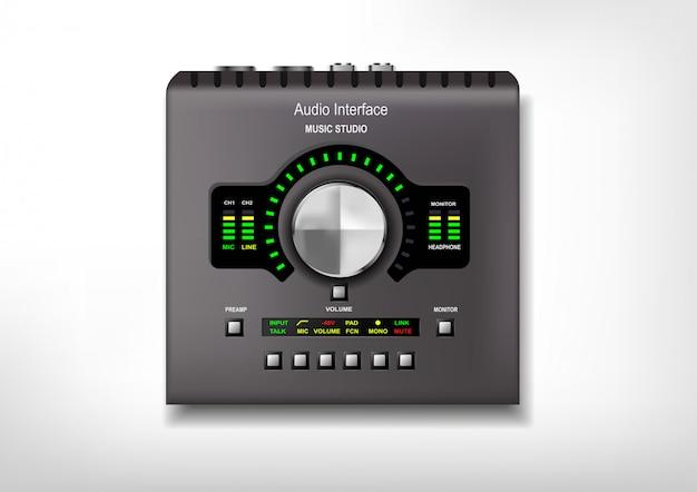 Realistische technologie object externe audio-interfaces, geluidskaarten. digitale muzikale apparaten. apparatuur voor opnamestudio's.