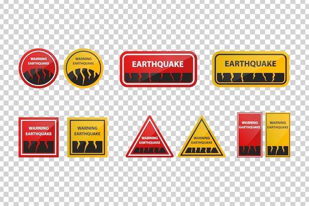 Realistische tekens voor aardbevingwaarschuwing voor decoratie op de transparante achtergrond.