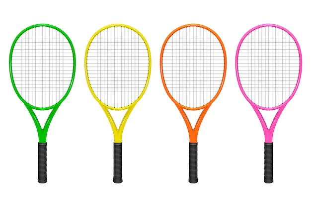 Realistische tennisracket set, close-up geïsoleerd op een witte achtergrond.