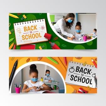 Realistische terug naar school-banners met foto