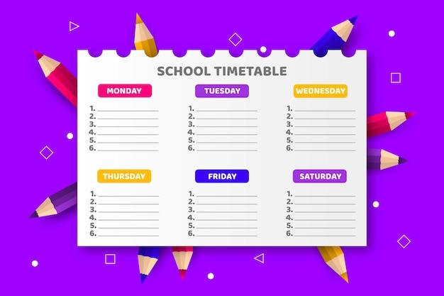 Realistische terug naar school tijdschema sjabloon