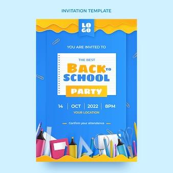 Realistische terug naar school uitnodigingssjabloon