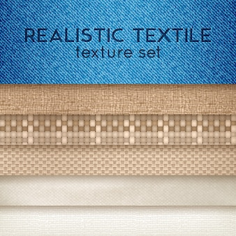Realistische textiel textuur horizontale set
