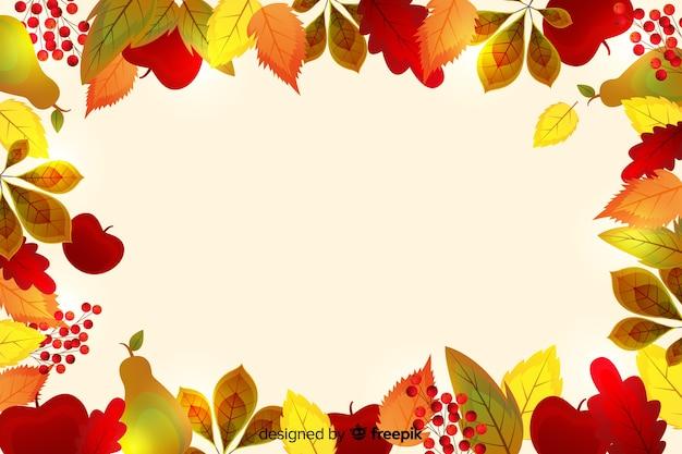 Realistische thanksgiving achtergrond met bladeren