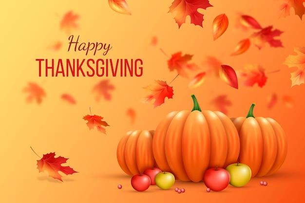 Realistische thanksgiving-achtergrond met herfstbladeren Premium Vector