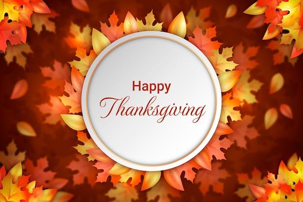 Realistische thanksgiving-achtergrond met herfstbladeren