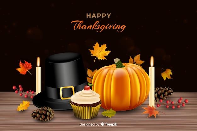 Realistische thanksgiving achtergrond met ornamenten
