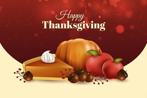 Realistische thanksgiving achtergrond met pompoentaart