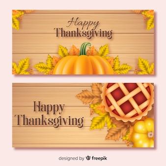 Realistische thanksgiving banners sjabloon
