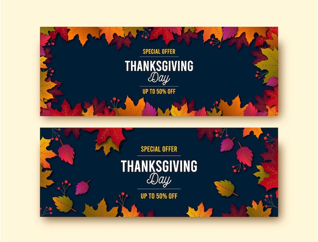Realistische thanksgiving banners sjabloon
