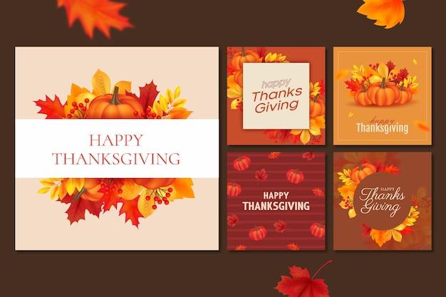 Realistische thanksgiving instagram-berichten
