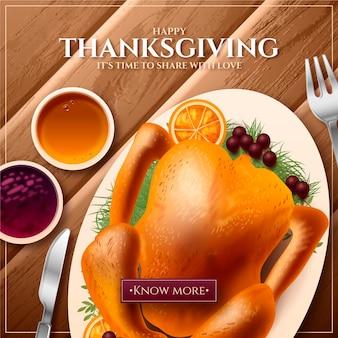 Realistische thanksgiving instagram-postsjabloon