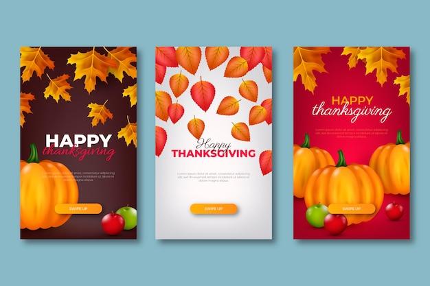 Realistische thanksgiving instagram-verhalencollectie