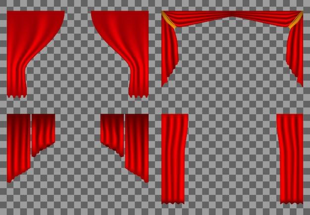 Realistische theatergordijnen, toneelbioscoop, rode achtergrond