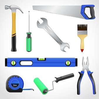Realistische timmerman tools iconen collectie