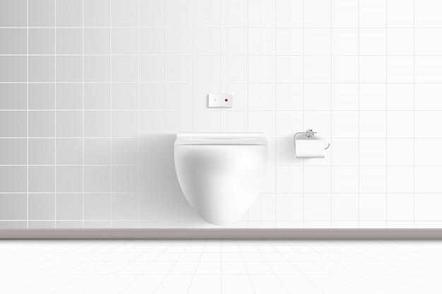 Realistische toiletpot en moderne architectuur van interieur rustruimte en decoratief ontwerp., wc-hygiënestoel op keramische tegels