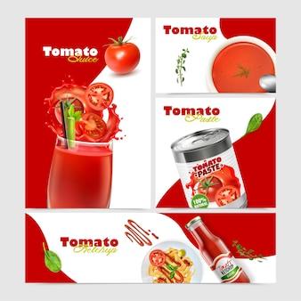 Realistische tomatencollectie met banners met gerechten