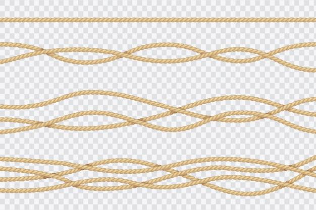 Realistische touwset. nautische getextureerde koorden. sluit de vector 3d geïsoleerde inzameling van zeeliedenkoorden omhoog