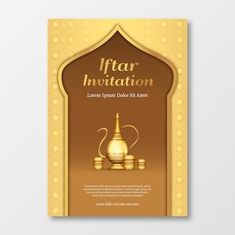 Realistische traditionele iftar-feestuitnodiging