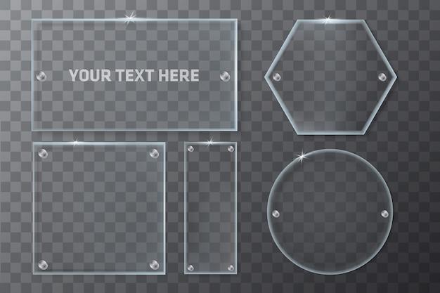 Realistische transparant glas geometrie frames sjabloon