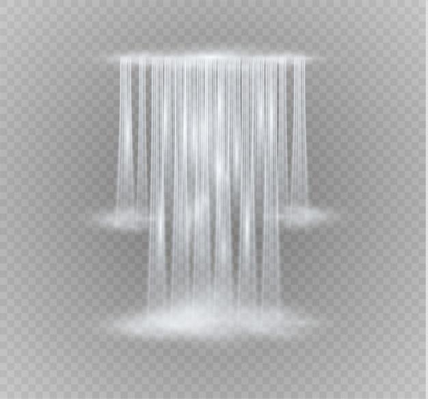 Realistische transparant, stroom van waterval met helder water en bubbels geïsoleerd op transparante achtergrond.