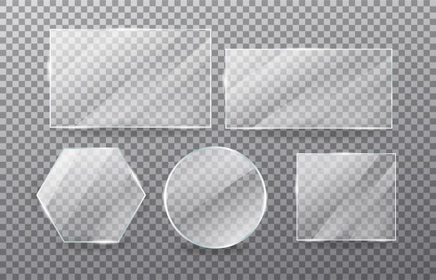 Realistische transparante glazen raamset