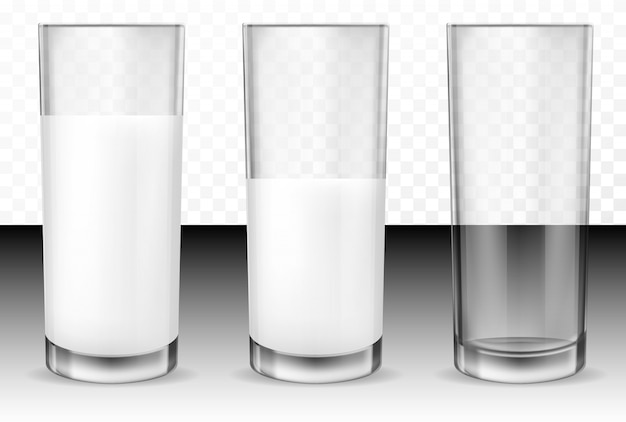 Realistische transparante glazen voor melk
