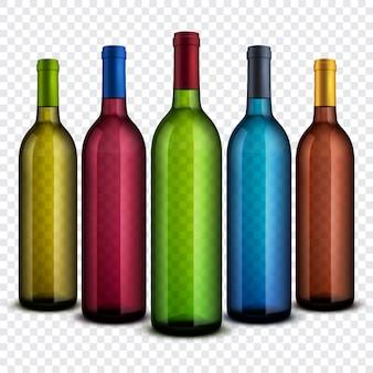 Realistische transparante glazen wijnflessen geïsoleerd op de geruite achtergrond vector set.