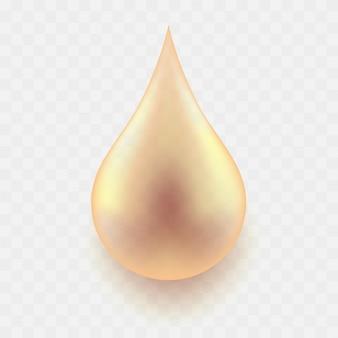 Realistische transparante oliedruppel met schaduw