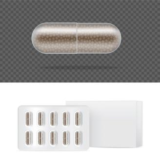 Realistische transparante pil geneeskunde capsule paneel met doos op witte achtergrond. tabletten medische en gezondheidsconcept.